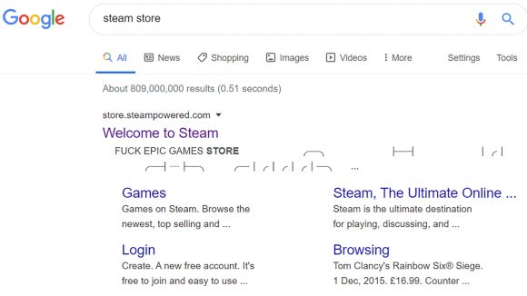 Steam - Fuck Epic Games Store