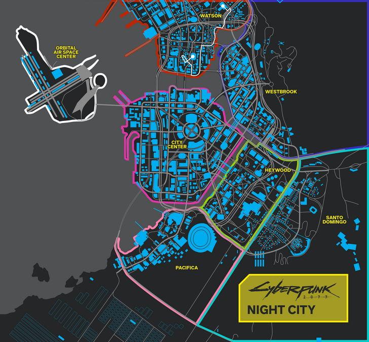 NIght City - mapa Cyberpunk 2077