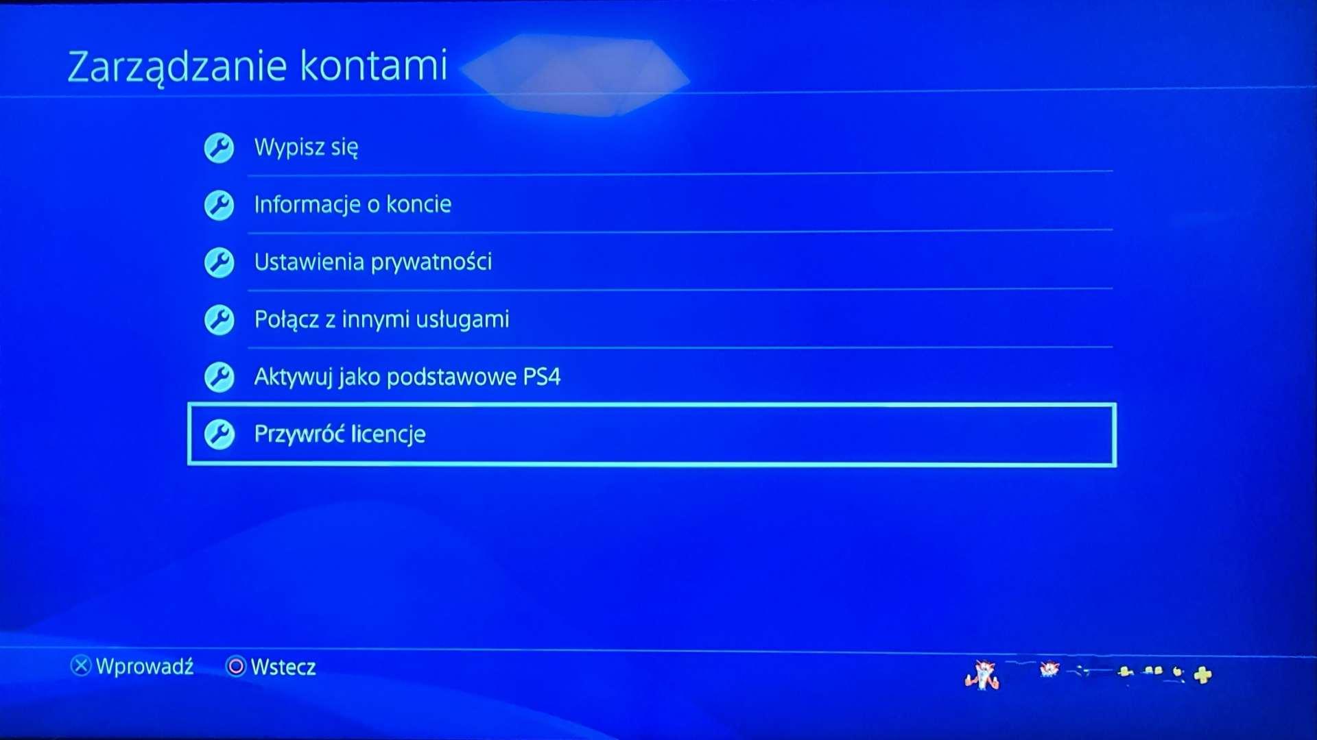PS4 Przywróć Licencję