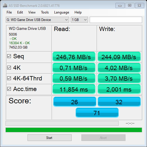 WD_BLACK D10 Game Drive - AS SSD