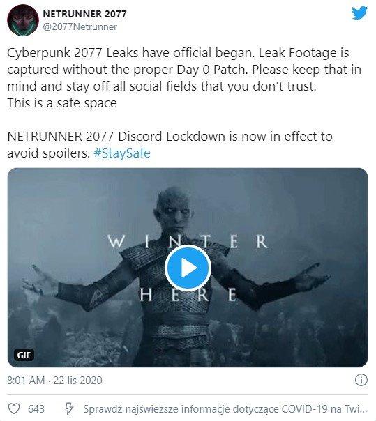 Cyberpunk 2077 Twitter